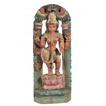 Handbemalte indische Statue aus Teakholz