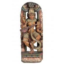 Bunt bemalte indische Statue aus Holz