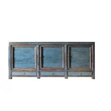 Vollholzsideboard aus China in kräftigem Blau im Used-Look