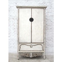 China Schrank Shandong weiß lackiert im romantisch verzierten Stil