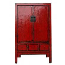 raditioneller Chinesischer Hochzeitsschrank rot Shanxi 1860 aus dunkles Ulmenholz mit Metallbeschläge