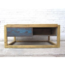 China Couchtisch Sockel two tone optic azurbau helle Pinie