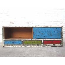 Asien Lowboard TV Kommode multi colour shabby chic Pinie