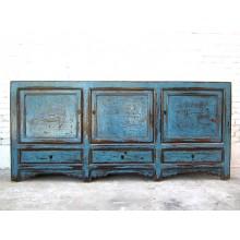 Asien breites Sideboard 200cm antik azurblau shabby chic