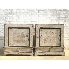 Mongolei zwei Nachttische Kommoden Paar Shabby Chic antikweiß Holz starke used Optik