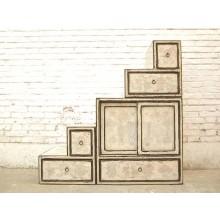 China kleine Stufen Kommode Schubladen vintage Style antikweiß