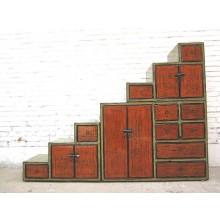 Treppen-Kommode Grün Orange 180 cm lang