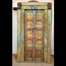 TEAK Holz Tür antik 130 Jahre Rajasthan Vintagefarben