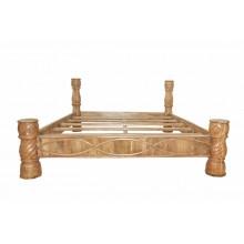 Handgeschnitzter indischer Bett aus massivem Holz