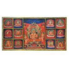 Indien altes Wandbild aus Holz mit großartigen Malerein traditioneller Motive
