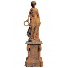 Skulptur Victoria Statue auf Sockel Gusseisen schwarzer Rost Klassik