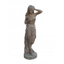 Skulptur Mädchen mit Rose Statue auf Basis Gusseisen antikbraun Romantik
