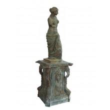 Skulptur Milos Venus Halbakt große Statue mit Sockel Gußeisen grünspanfarbig