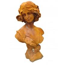 Frauen Büste Art Deco Jugendstil Skulptur rostfarbiger Gusseisen
