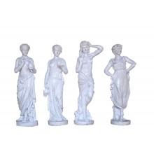 Vier Jahreszeiten kleine weibliche Skulpturen Gusseisen antikweiß