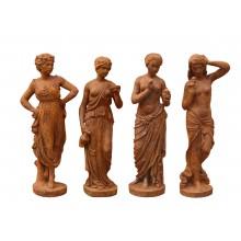 Vier Jahreszeiten kleine weibliche Statuen Gußeisen rostbraun