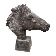 Klassik edler Pferdekopf auf Sockel Statue Gusseisen Antikbraun