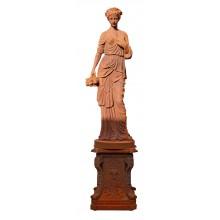 Skulptur Blumenfee Statue auf Sockel rostbrauner Gusseisen Klassizismus