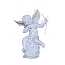 Skulptur Liebesgott Amor mit Pfeil und Bogen Gusseisen antikweiß