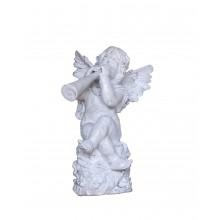 Barocke Skulptur Putte Engel mit Posaune Gusseisen antikweiß