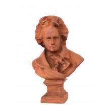 Skulptur Beethoven Büste Statue auf Sockel Gusseisen rostbraun