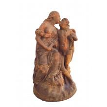 Erotische Miniatur Ars und Amor Skulptur auf Platte Gußeisen rostbraun