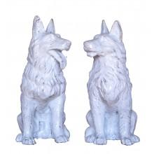 Zwei sitzende Hunde Paar Miniatur Skulpturen Gußeisen antikweiß