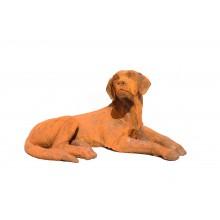 Skulptur Retriever Setter liegend Plastik Gußeisen rostbraun
