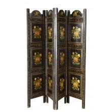India dunkler Paravent echt antik Raumteiler traditionell bemalt florale Motive Möbel