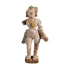 India Frauenfigur Skulptur geschnitzt Holz bemalt Kunst Rajasthan 1930