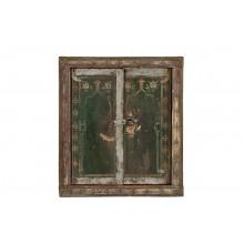 India 1950 kleiner Spiegel in antikem Fensterrahmen feine Bemalung Rajasthan