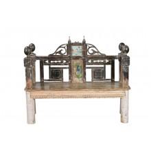 Indien 1940 antike Sitzbank traditionelle aufwändige Schnitzarbeit holzbraun Gujarat