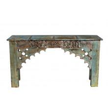 India zart bemalte Konsole Tisch Sideboard antike Schnitzerei Rajasthan Möbel