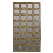 India furniture hoher breiter Spiegel naturbrauner Holzrahmen  aus alter Türe