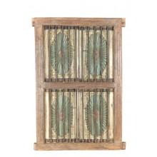 Indien 1940 großes Fenster Doppelflügel aus Holz und Metall Rajasthan Einbau Dekor