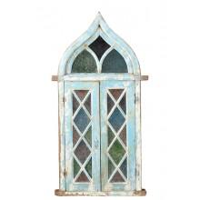 Indien märchenhaftes Fenster verglast tintenblau Holzrahmen ein Kleinod Gujarat ca 1900