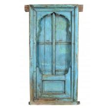 India lichtblaues Fenster mit herrlichem Rahmen zum Einbau Rarität Gujarat 1935