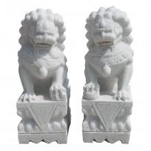 Weißer Marmor Fu Dog Paar Tempel Löwen Wächter  Bildhauerarbeit