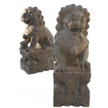 Fu Dog Paar Tempel Löwen Wächter beiger Marmor Antik- Look Bildhauerarbeit