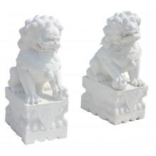 Fu Dog Paar Tempel Löwen Wächter Marmor Bildhauerarbeit