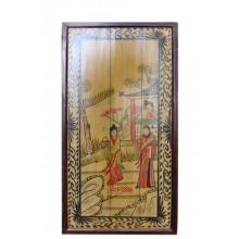 Antikes Holzbild mit dem Motiv Palastszene 80 Jahre