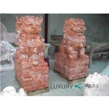 China Tempelwächter Drachen Paar sitzend Skulptur rosamarmoriert