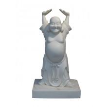 Happy Buddha Statue Figur Skulptur Marmor weiß von Luxury Park