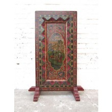 China Tibet Standbild buddhistische Gottheit Antikfinish Rahmen Holz