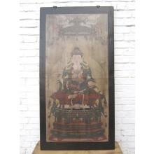 Asien Wandbild buddhistische Gottheit brauner Rahmen Beijing um 1930 Pinie