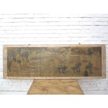 China breites Wandbild hellbraun gerahmt ca. 80 Jahre alt Pinienholz