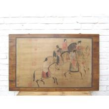 China Reiterszene Wandbild Pinie Peking Geschenk etwa 1930