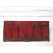 China klassisch breites Sideboard rotbraun viele Doppeltüren und Schubladen von Luxury Park