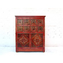 Tibet Kommode Anrichte viele Schubladen rotbraun bemalt Vintage