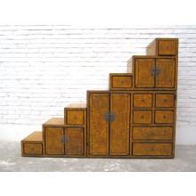 China große Stufen Kommode Schubladen vintage honigfarbige Pinie